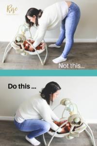 Postpartum tips on bending down